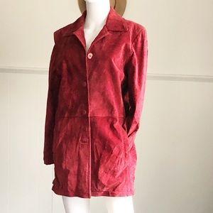 Jackets & Blazers - Wine Red 100% Leather Long Blazer • 10